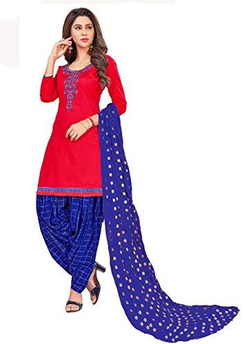 Anni Designer Women's Red Color Glace Cotton Thread Embroidered Banarasi Jacquard Dupatta Punjabi Dress Material(Suhagan 5001_Red_Free Size)
