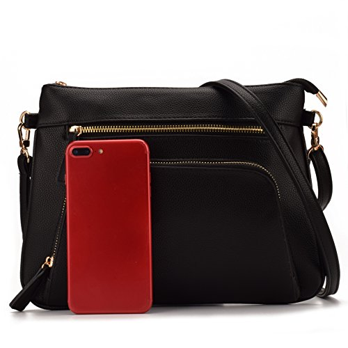 Front leather bag With Shoulder handbag bag Women Pebble crossbody Slim Purses Pocket PU Black JIARUO Small fvXwTO74qW
