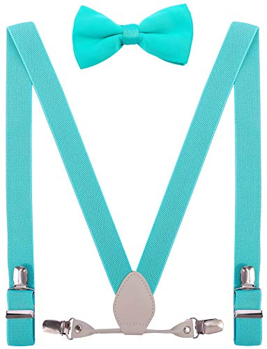 (YJDS Kids Leather Suspenders and Bowtie Set Elastic for Wedding Turquoise 39'')