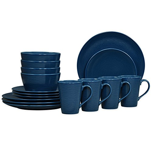 Noritake Navy on Navy Swirl 16-Piece Porcelain Coupe Dinnerware Set