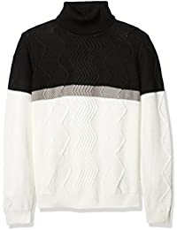 Men's Multi Knit Color Blocked Turtle Neck