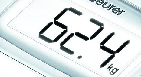 Beurer PS25 - Básculade baño con pantallaLCD iluminada, gran plataforma de 34 x 34.5 cm, color blanco: Amazon.es: Salud y cuidado personal