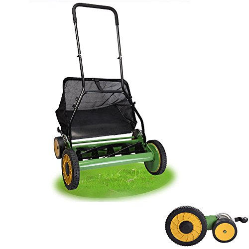 18-Inch Manual Reel Mower with Grass Catcher Lawn mower Home Garden by Alek...