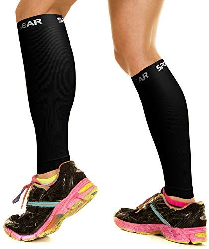 Physix Gear Sport Compression Calf Sleeves for Men & Women (20-30mmhg) - Best Footless Compression Socks for Shin Splints, Running, Leg Pain, Nurses & Pregnancy - Increase Circulation - BLK S/M - M/L (Compression Running Sport Socks)