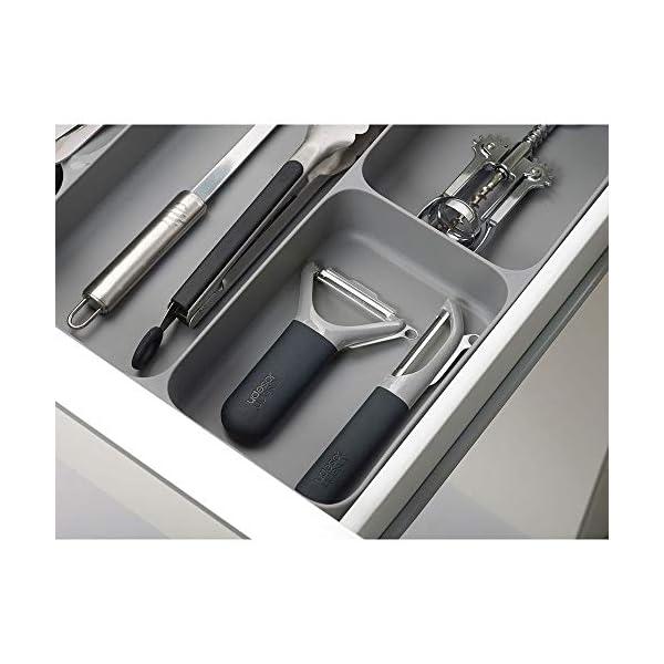 41Yy1S4hYVL Joseph Joseph DrawerStore Organizer für Besteck, Küchenhelfer und Kochzubehör, Plastik, Grau, 38.4 x 39.70 x 5.3 cm, 1…