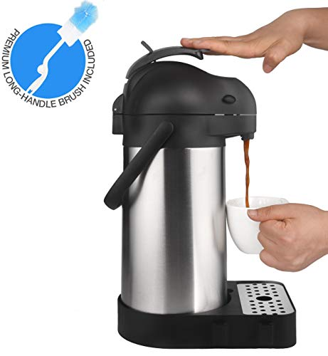 Cresimo 74 Ounce (2.2 Liter) Airpot Thermal Coffee Carafe/Lever Action/Stainless Steel Insulated Thermos / 12 Hour Heat Retention / 24 Hour Cold Retention (Airpot with Drip Tray)