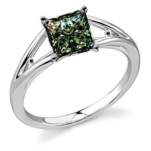 RINGJEWEL 3.65 ct VS1 Princess Moissanite Solitaire Engagement Silver Plated Ring Green Color Size 7 by RINGJEWEL (Image #2)
