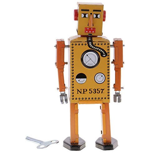Jili Online Old-fashioned Wind Up Walking Lilliput Robot Clockwork Tin Toys Gift Yellow