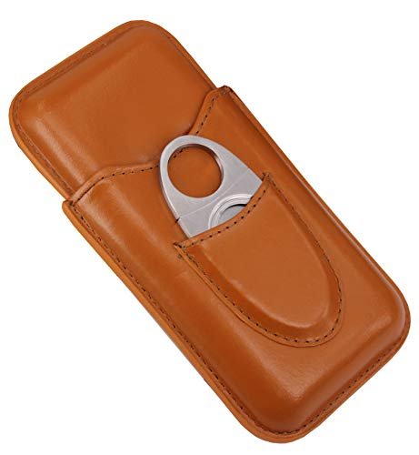 Leather Cigar Case , 3 Tubes Travel Cigar Humidor with Stainless Steel Cutter ()