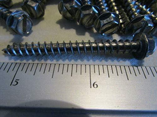 Van Nimwegen Qty 25 Stainless Steel #12 x 2 Slotted Hex Indented Head Sheet Metal Screw Van Nimwegen