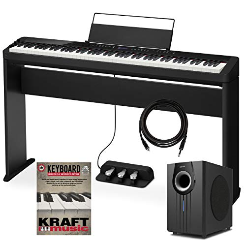 Casio Privia PX-S3000 Digital Piano – Black with Stand, Triple Pedal, Subwoofer, and Lesson Book