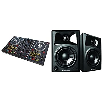 Numark Party Mix Bundle | Starter DJ Controller with Built-In Sound Card,  Light Show and Virtual DJ LE Software Download with AV32 Speakers