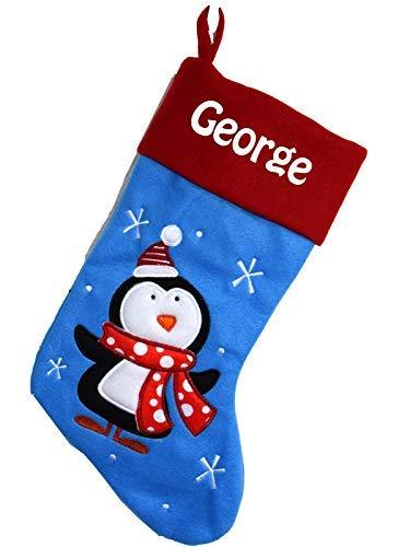 Chaussette de Noël à personnaliser motif Pinguoin Bleu Botte de Noël à personnaliser