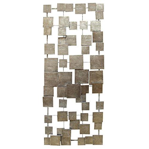 Stratton Home Decor SHD0211 Geometric Tiles Wall Decor, 14.00 W X 1.25 D X 32.25 H, Champagne (Accent Metal Wall Tile)