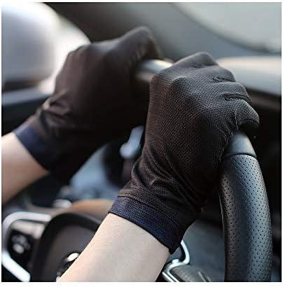 手袋 日常 実用 UV耐性の薄いセクション通気性は男性の運転滑り止め弾性タッチスクリーンショートを指します (Color : Black, Size : One size-Five pairs)