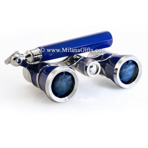 Milana Optics Opera Glasses Symphony W/ handle Reflex Blue Finish W/ Sil. Rings