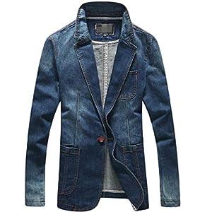 Men's One Button Blazer Denim Comfort Quilted Jacket