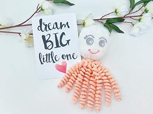 0003 Apricot - Tags 4 Tots Octoprem Softie Comforting Crochet Octopus for Preemies & Newborns (Apricot)