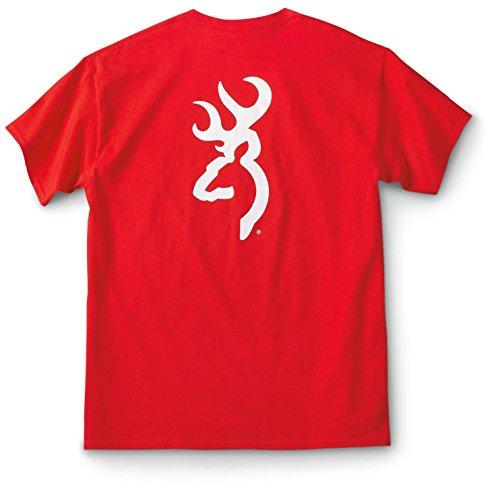 Browning Men's Custom White Buck Mark T-Shirt, Red, M