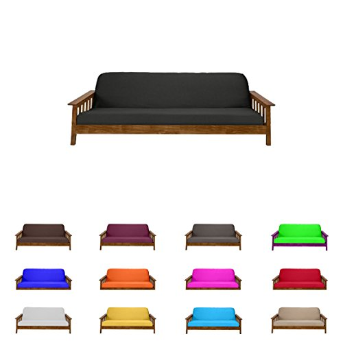 "Futon Mattress Cover Solid Color Choose Color Size Twin Full Queen (Full (6""x54""x75""), Black)"