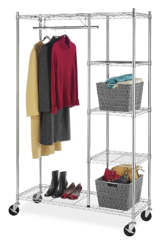 'Whitmor Supreme Rolling Garment Rack Chrome' from the web at 'https://images-na.ssl-images-amazon.com/images/I/41Yy4jYgASL.jpg'
