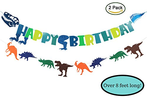 - Dinosaur Birthday Party Decorations Supplies Skeleton/Bones + Dino Cutout Shapes, 2 Pack Banners
