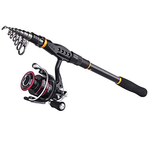 Goture Bass Fishing Rod Trout Telescopic Rod Spinning Rod Reel Combos Carbon Fiber Pole with Sea Saltwater Freshwater 8.9ft