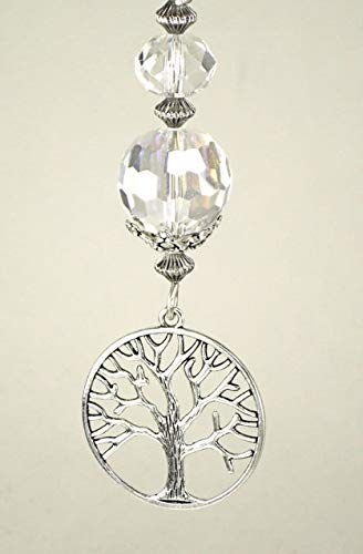 Tree of Life Nature Branches Full Circle Silver Metal Ring with Crystal Clear Faceted Glass Ceiling Fan Pull Chain Trace Ellements