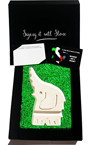 Stone Elephant - Symbol of Good Luck & Love - Gift box & blank message card included - Lucky charm ideas for new job, house, baby, exams, wedding, retirement, (Good Luck Hand Symbol Charm)