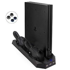 Actualizada FlexDin [2 en 1] PlayStation 4 Slim / Pro Soporte Vertical Base para PS4 Slim / PS4 Pro con Ventilador Dual y 3 USB, Estación de Cargador para Mando DualShock 4 PS4 (No para PS4 Clásico) 41Yy6Ea1fNL