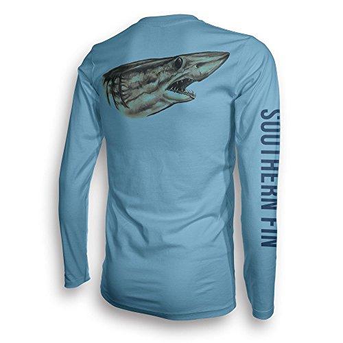 Performance Fishing Shirt Unisex Southern Fin UPF 50 Dri Fit Long Sleeve Apparel - Large, Mako Shark ( mako_l -