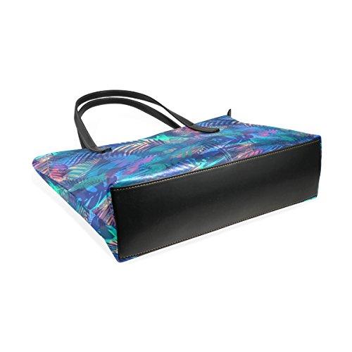 COOSUN Tropical Pattern mit Palmblättern PU Leder Schultertasche Handtasche und Handtaschen Tasche für Frauen