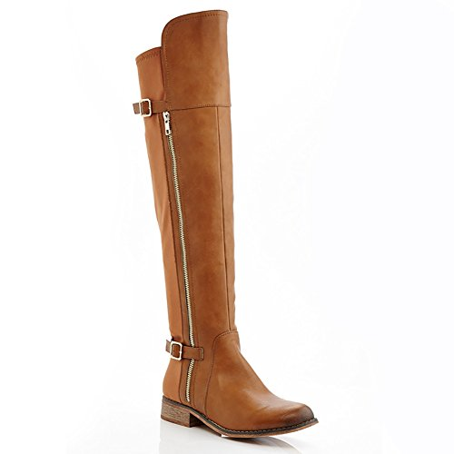 Extreme by Eddie Marc Womens Buffy Over the Knee Stretch Zipper Boot Tan 3GmtHWBgz
