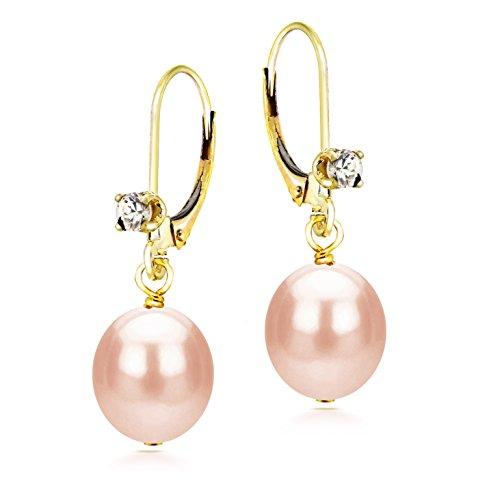 Cultured Freshwater Pink Pearl Earrings for Women Leverback CZ Dangle 14K Yellow Gold 8-8.5mm - Cultured Hoop Gold Earrings Pearl 14k