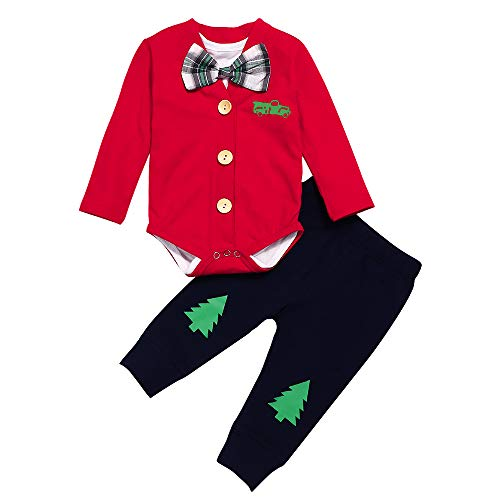 3Pcs Set Baby Boy Christmas Outfits Newborn Red Truck Coat+Plaid Bow Tie Romper Bodysuit Inside with Pants(0-3M)