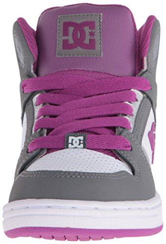 DC Shoes Rebound Youth Shoe D0302676B-1 - Zapatillas de cuero para niño Light Grey/Purple