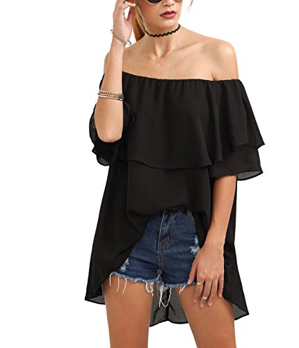 SheIn Women's Off Shoulder Chiffon Ruffle Sleeve Blouse Top Large Black - Black Chiffon Ruffle