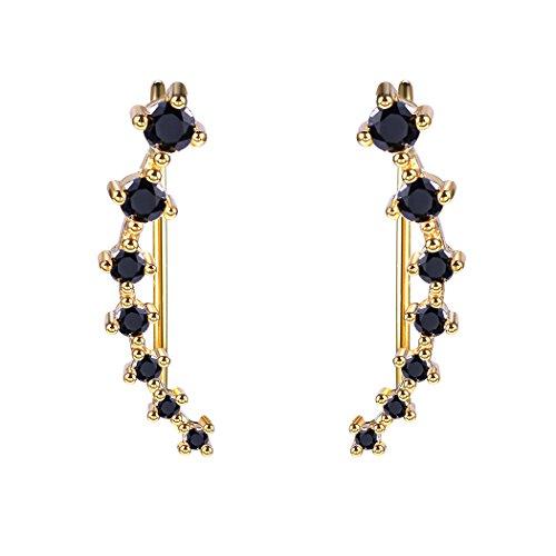 Ear Crawler Stud Earrings For Women/Teen Girls Gold Plated Black Onyx Cuff Earrings Crystal Ear Climber