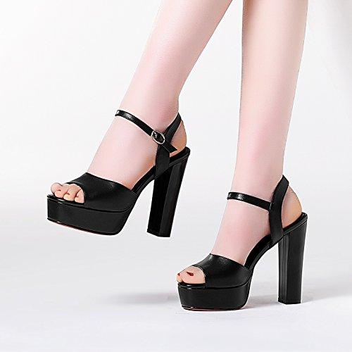 spessi KPHY di alti black Black sandali 39 donne scarpe 40 le la tacchi impermeabili estate con bocca nuova la odio pesce q4Wr14a6