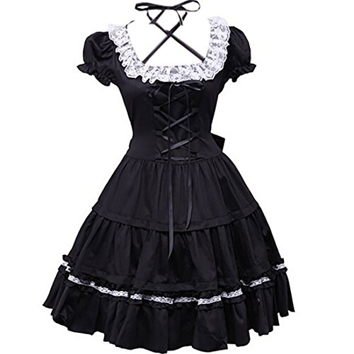 Partiss Women's Lace Back Bow Vintage Gothic Victorian Lolita Dress,L,Black