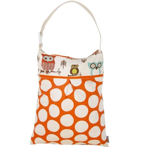 Logan + Lenora Daytripper Wet and Dry Tote - Large Cloth Diaper Wet Bag with Dry Pocket - Beach, Pool, Gym Bag for Swimsuits or Wet Clothes - Made in USA - Waterproof (Earthy Owls) by Logan + Lenora by Logan + Lenora