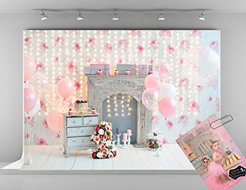 Kate 7x5ft Pink Background for Birthday Photography Flowers 1st Birthday Backdrop Pink Balloons Photo Shoot Backdrops