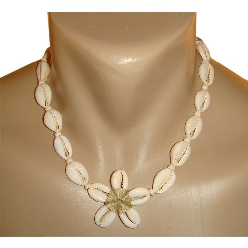 Hawaiian Shell Necklace - Hawaiian Plumeria Flower Cowry Shell Necklace