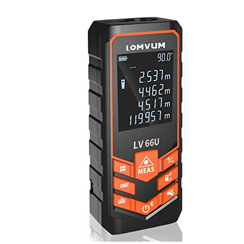 LOMVUM Laser Measure Mute Digital Laser Distance Meter with Backlit LCD and Pythagorean Mode, Measure Distance, Area and Volume - Carry Pouch and Battery Included (Digital Angle Device Measuring)