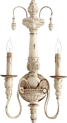 (Quorum 5506-2-70 Salento Wall Sconce, 2-Light, 120 Total Watts, Persian White)