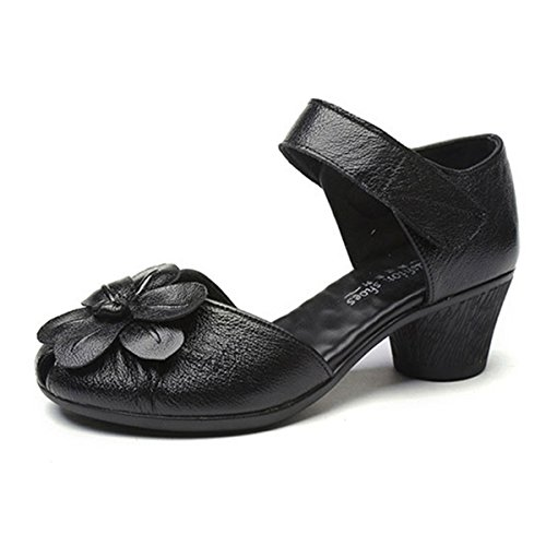 Socofy Soft Leather Sandals,Retro Fashion Flower Block Hoop Loop Comfortable Round Head Mid Heel Shoes Black 8 B(M) US