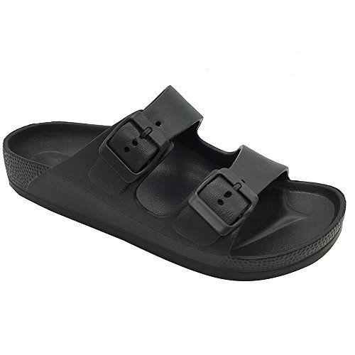 FUNKYMONKEY Women's Comfort Slides Double Buckle Adjustable EVA Flat Sandals (7 M US-Women, Black)