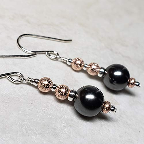 Sterling Silver and 14k Rose Gold-Filled Earrings Made with Swarovski® Simulated Pearls- Black