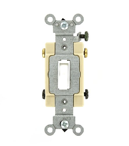 Leviton 54524-2W 20 Amp, 120/277 Volt, Toggle Framed 4-Way AC Quiet Switch, Commercial Grade, Grounding, White ()