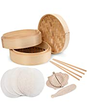 Annie's Kitchen Premium 10 Inch Handmade Bamboo Steamer Baskets - Lid. Dumpling Maker with Spoon, 4 Reusable Cotton Liners, 2 sets Chopsticks- For Rice, Vegetables, Fish, Meat & Desserts